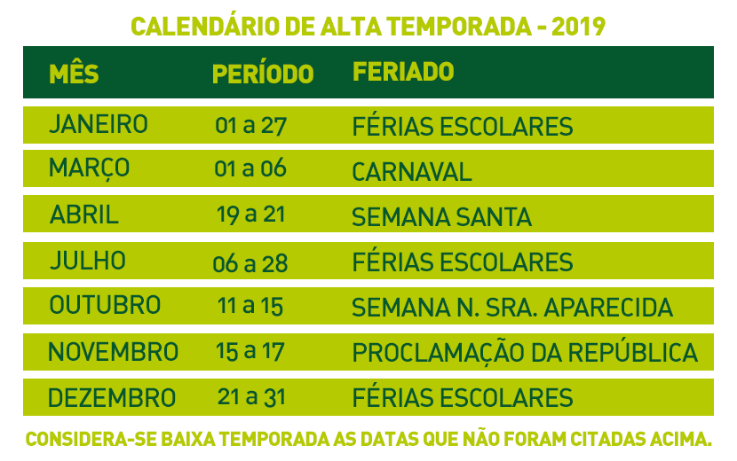 Calendario Dezembro 2019 Bonito.Calendario De Alta E Baixa Temporada 2019 Em Bonito Ms